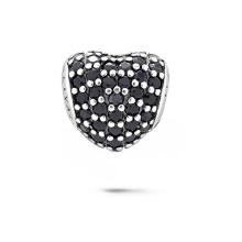 Forma de corazón 925 granos de plata esterlina con joyas CZ