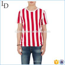 Rib-malha crewneck camiseta listrada personalizada algodão spandex slim fit camisa