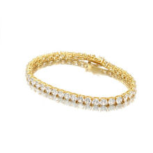 Fashion Gold And Silver Jewelry Hip Hop Row Diamond 3/4/5mm Waxy Zircon Copper Stainless Steel Jewelry Necklace
