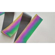 Pano de tecido reflexivo arco-íris preto