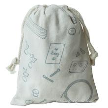 Custom Logo Printed Gift Canvas Cotton Double String Handbag Drawstring Bag