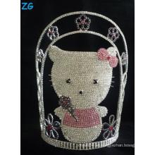 Tiara linda del gato del gatito del hello, coronas grandes del desfile, tiara rosada, tiara por encargo