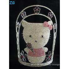 Cute crystal hello kitty cat tiara, large pageant crowns, pink tiara, custom made tiara