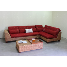 Sectional Sofa Set for Indoor Furniture Using Natural Water Hyacinth