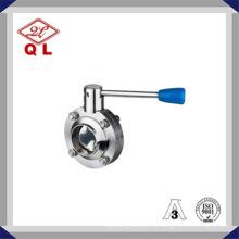 Válvula de mariposa manual de soldadura de acero inoxidable de alto rendimiento