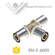 EM-F-A009 Verchromter Pressverbinder Messinggleicher T-Stück Fitting