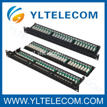 1U 19 polegadas 48port(6*8) tipo Patch Panel angular direito Cat. 5E e Cat. 6