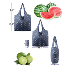 High Quality Eco-friendly portable 190T Polyester Reusable Foldable Shopping tote Bag
