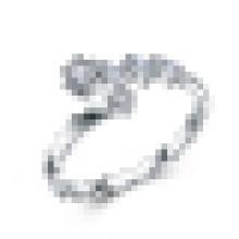 Bague d'ouverture en CZ incrustée d'une vague haut de gamme en argent sterling 925 pour femme