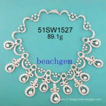 bijoux-CZ collier en argent Sterling (51SW1527)
