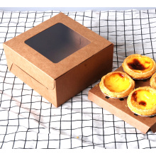 Kraft Paper Cup Cake Egg Tart Food Box Packing With Window
