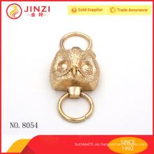 Brillo de oro de aleación de zinc buho diseño asa para bolsos correa de mango