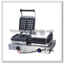 K321 2 Heads Table Top Electric Stainless Steel Waffle Baker