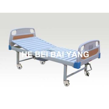 (A-194) Cama de hospital manual de função única movível com pote de câmara e cabeça de cama ABS