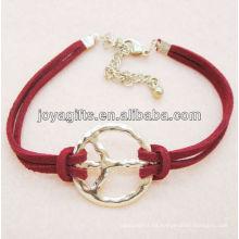 Aleación de símbolo de paz con pulsera de cordón de cuero rojo