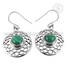 Neue anmutige Malachit Edelstein Ohrring 925 Sterling Silber Großhandel Schmuck Jaipur Online Silber Schmuck