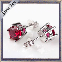 6mm Round Brilliant Cut Lab-Created Ruby Stud Earrings Jewelry