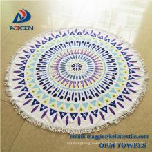 Custom Sublimation Printed 100% Microfiber Round Beach Towel for Japan Market