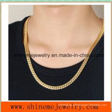 Repujado al por mayor de accesorios de acero inoxidable de tamaño completo collar de hombres dragón de oro (SSNL2624)