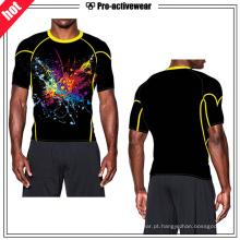 Atacado Workout Vestuário Top Spandex Sublimação Compressão Rash Guard