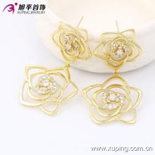 Brinco de zircônia de flor de ouro 14k banhado a ouro de moda Xuping 90041