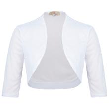 Grace Karin Womens Half Sleeve Cropped White Short Chiffon Bolero Shrug Shawls CL010473-2