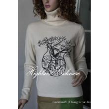 Senhoras ′ Cashmere Turtle Neck Pullover com Bordado Cep1101L