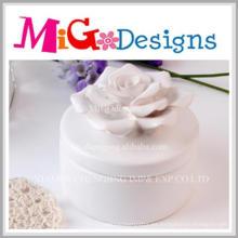 Caja de joyería encantadora de la flor de cerámica del regalo del arte de Artware
