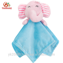 ICTI Personalized animal head plush soft security blanket baby toys