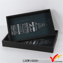 Set of 2 Bottle Serving Wood Tray for Tea Coffee