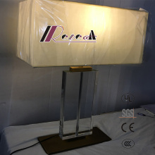 Living Room Fabric Shade Reading Light Square Bedside Table/Desk Lamp, Modern LED Lighting