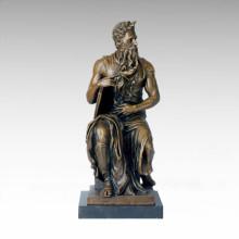 Mythology Bronze Sculpture God Moses Craft Brass Statue TPE-131