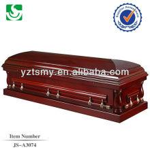 Caixão de caixão de sofá completo madeira cerejeira americano alto brilho