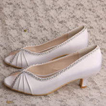 Bridal Peep Toe Shoes 화이트 새틴