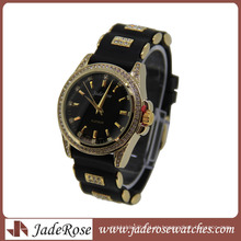 Venda quente pulseira preta ouro caso senhoras silicone relógio de quartzo