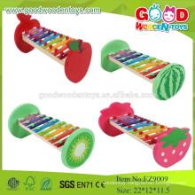 EZ9009 2015Hot Selling Musical Kids Wooden Toys,Fruit Design Xylophone Baby Musical Wooden Toy, Wooden Music Instrument