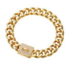 Factory Drop Shipping Gold Chain Dog Collar 23MM 18K Cuban Dog Chain For Dog Training Collar