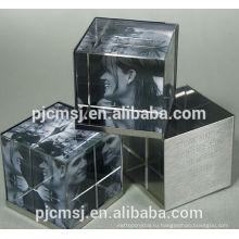Мода персонализированные 3D кристалл куб фото/стеклянный куб фоторамка