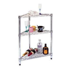Multifunctional 3 Tiers Metal Corner Wire Rack with Adjustable Shelf Height