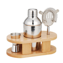 Wood stand Cocktail Shaker Gift Set