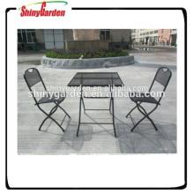 Outdoor-Mesh-Stahl-Klapp-Bistro-Set Stahlgitter Stuhl und Tisch Stahlmöbel