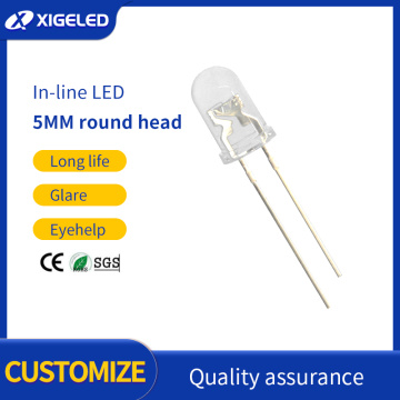 In-line LED f5 white transparent high-power lamp beads