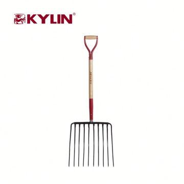 Precio competitivo 10 herramientas de jardín de diente tenedor forjado horquilla de acero al carbono