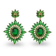 Green AAA CZ Stone Environmental Copper Jewelry Earrings