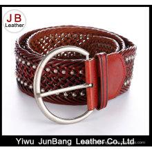 Cinturão de trança de couro com bondade de moda Ladie com rebite