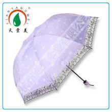 Promoção barato 3 UV guarda-chuva de dobramento