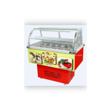 Curved glass vegetables and fruits salad display showcase