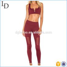 Передняя застежка-молния женщины сексуальный спортивная одежда фитнес одежда йога