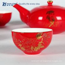 Chinoiserie-Porzellan-Rot-Tee-Geschenk-Set für neues Paar / orientalischen Stil präsentieren Knochen-China-Tee-Set