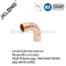 Cobre de montaje de cobre de 90 grados de largo codo C * C